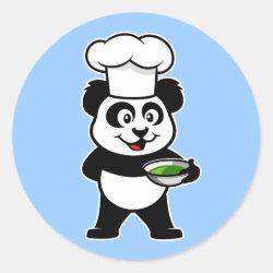 Round Sticker with Cooking Panda design