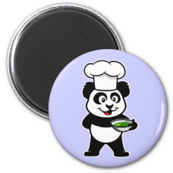 Round Magnet with Cooking Panda design