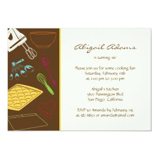 "Cooking Party - Birthday Party Invitation 5"" X 7"" Invitation Card"