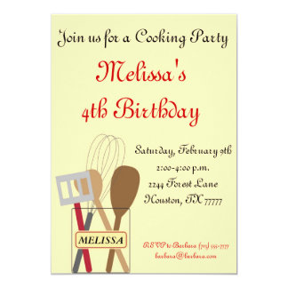 "Cooking Party Invitation 5"" X 7"" Invitation Card"