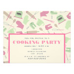 Cooking Party Invitation - Pink & Green Kitchen