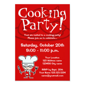 "Cooking party invitations 5"" x 7"" invitation card"