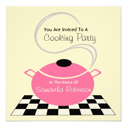 Cooking Party Invite - Black White & Pink Kitchen