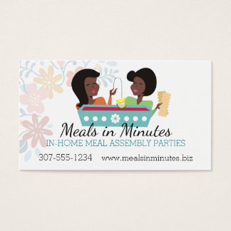 Cooking party meal assembly African American women Business Card