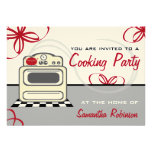 Cooking Party - Retro Stove Red Kitchen Custom Announcement