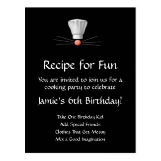 Cooking Party Template: Black and White Postcard