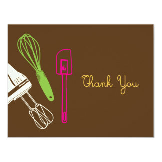 """Cooking Party Thank You Card 4.25"""" X 5.5"""" Invitation Card"""