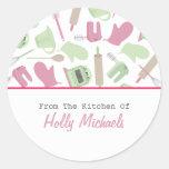 Cooking Pattern Kitchen Label Classic Round Sticker