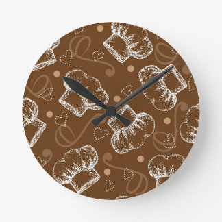 Cooking pattern with chef hat round wallclock