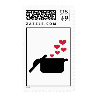 Cooking pot red hearts postage