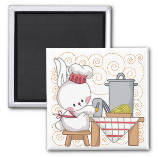 Cooking Rabbit 2 Inch Square Magnet
