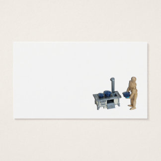 Cooking retro stove speckled pots and pans business card