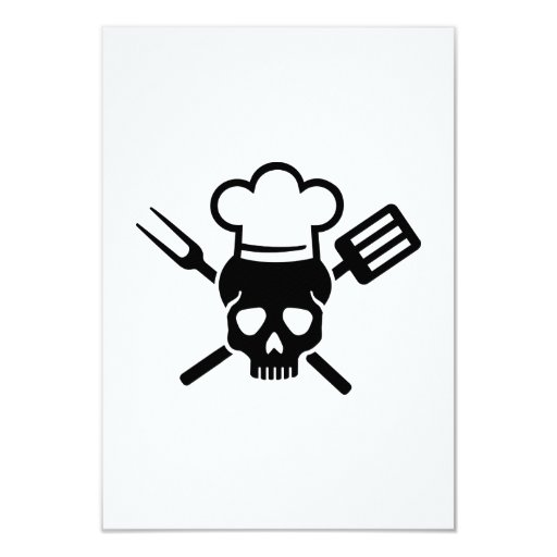 Cooking skull 3.5x5 paper invitation card