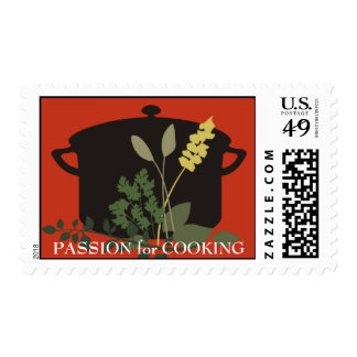 cooking stock pot with herbs postage stamp, PAS...