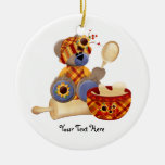 Cooking TeddyBear Double-Sided Ceramic Round Christmas Ornament