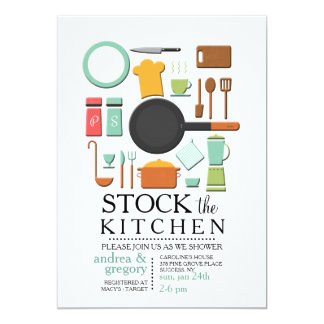 Cooking Tools Stock the Kitchen Shower Invitation