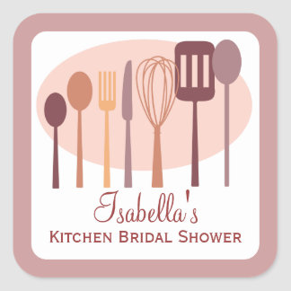 Cooking Utensils Kitchen Bridal Shower | Pink Square Sticker
