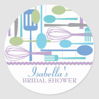 Cooking Utensils Kitchen Bridal Shower | Retro Classic Round Sticker