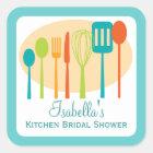 Cooking Utensils Kitchen Bridal Shower | Teal Square Sticker