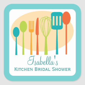 Cooking Utensils Kitchen Bridal Shower | Teal Square Sticker