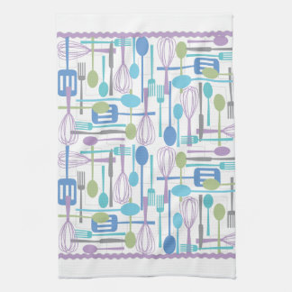 Cooking Utensils Kitchen Towel in Cool Colors