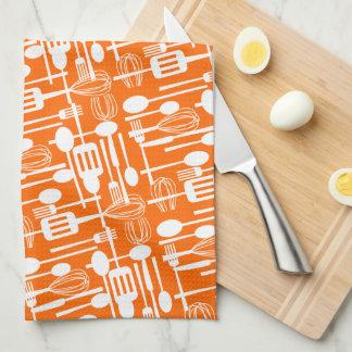 Cooking Utensils Kitchen Towel in Orange | White
