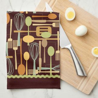 Cooking Utensils Kitchen Towel in Retro Colors