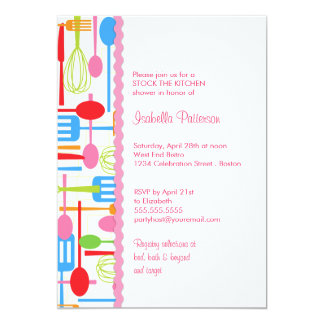 Cooking Utensils Stock the Kitchen Bridal Shower 5x7 Paper Invitation Card