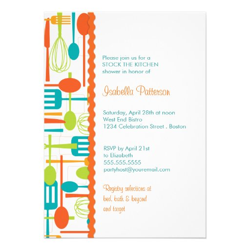 Cooking Utensils Stock the Kitchen Bridal Shower 5x7 Paper ...