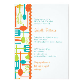 Cooking Utensils Stock the Kitchen Bridal Shower Personalized Announcements