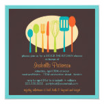 "Cooking Utensils Stock the Kitchen Bridal Shower 5.25"" Square Invitation Card"