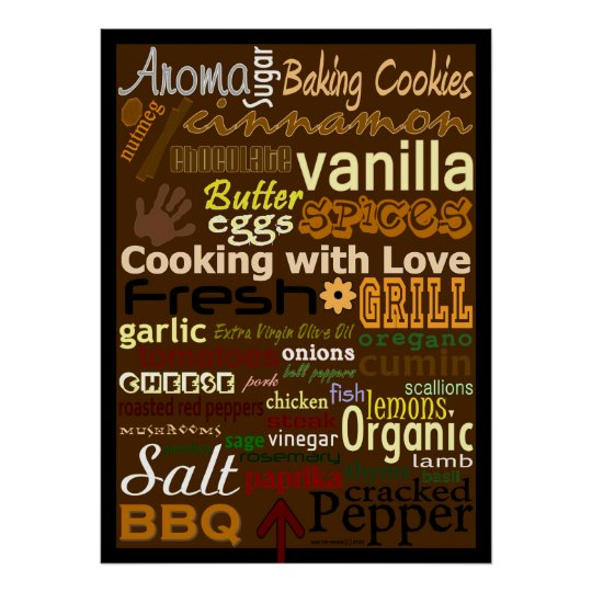 Cooking With Love Word Art Poster