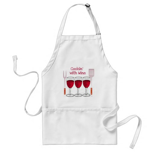 COOKING WITH WINE RED WINE AND BBQ TOOLS PRINT ADULT APRON