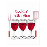 COOKING WITH WINE RED WINE AND BBQ TOOLS PRINT POSTCARD
