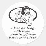 Cooking With Wine Round Sticker