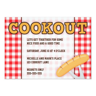 Cookout BBQ party invitation with hot dog
