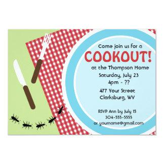 Cookout de encargo del patio trasero invitación 12,7 x 17,8 cm
