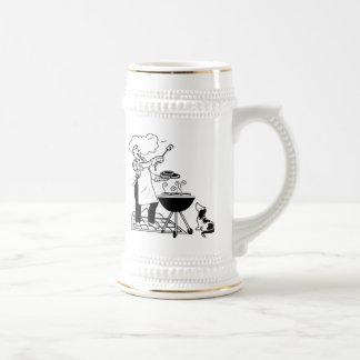 Cookout del dibujo animado con el perro jarra de cerveza