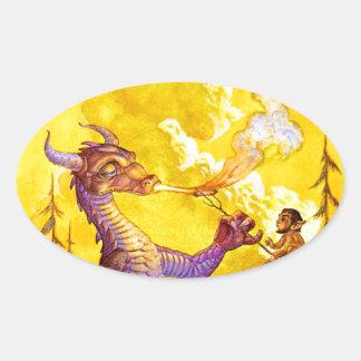 Cookout del dragón pegatina ovalada