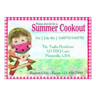 """Cookout del verano invitación 5"""" x 7"""""""