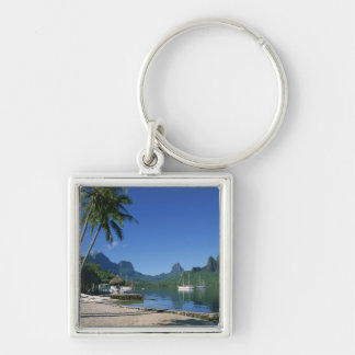 Cook's Bay, Moorea, French Polynesia Silver-Colored Square Keychain