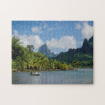 "Cook&#39;s Bay, Moorea jigsaw puzzle<br><div class=""desc"">Jigsaw puzzle of the tropical Cook&#39;s Bay with a boat and volcano background with palm trees and jungle on the island of Moorea,  near Tahiti in the Pacific archipelago French Polynesia.</div>"