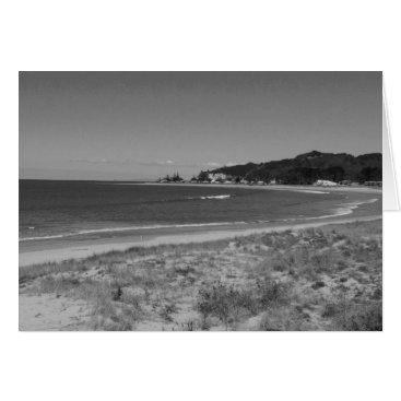Beach Themed Cooks Beach, Coromandel, New Zealand - B & W Card