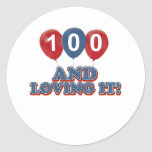Cool 100 year old birthday designs classic round sticker
