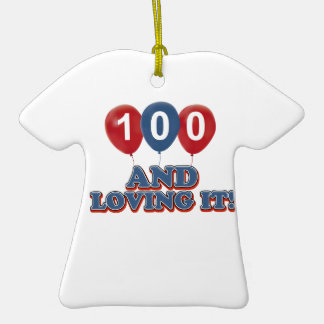 Cool 100 year old birthday designs Double-Sided T-Shirt ceramic christmas ornament
