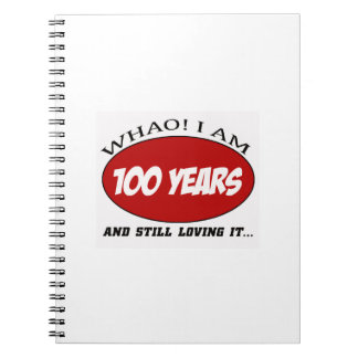 cool 100 years old birthday designs note books