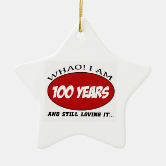 cool 100 years old birthday designs Double-Sided star ceramic christmas ornament