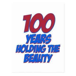 cool 100 years old birthday designs postcard