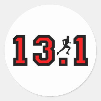 Cool 13.1 half marathon classic round sticker