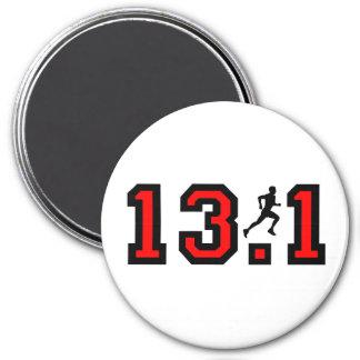 Cool 13.1 half marathon 3 inch round magnet
